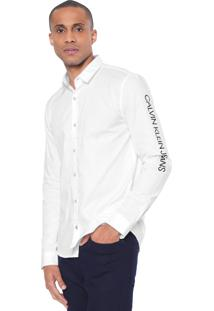 Camisa Calvin Klein Jeans Reta Lettering Branca