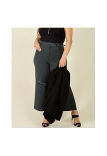 Calça Plus Size Feminina Jeans Destroyed Wide Leg