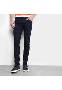 Calça Jeans Ecxo Skinny Lisa Masculina - Masculino-Azul