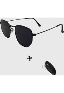 Oculos De Sol Feminino Volpz Hexagonal Preto Com Suporte Veicular