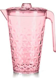 Jarra De Plástico Cristal Com Tampa Plasvale Rosa 2L