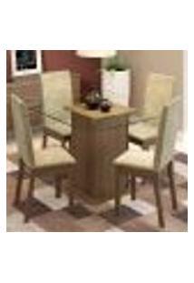Conjunto Sala De Jantar Madesa Gabi Mesa Tampo De Vidro Com 4 Cadeiras