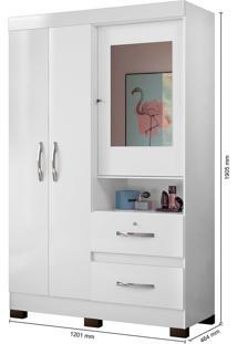 Guarda Roupa Juvenil Com Espelho Urânio 3Portas Bco/Preto/Azul Acqua/Pink - Tricae