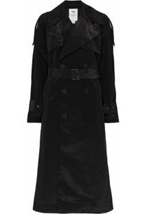Y-3 Trench Coat De Crepe Da China - Preto