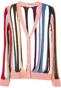 Jw Anderson Cardigan Color Block Com Detalhe De Recortes - Estampado