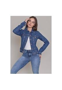 Jaqueta Jeans Dialogo Stone Com Botões Frontais E Punho