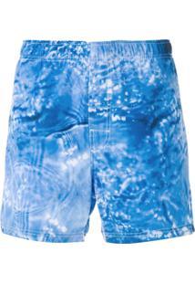 Osklen Bermuda Estampada Com Detalhe De Logo - Azul