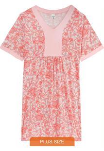 Camisola Rosa Arabesco Em Viscose Plus