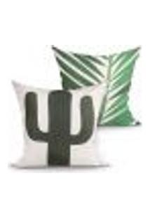 Capa De Almofada Decorativa Verde Cacto Kit Com 2 Unidades 45Cm X 45Cm Com Zíper