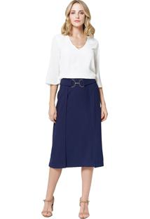 Blusa Mx Fashion De Chiffon Noemi Off White