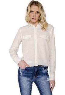 Camisa Com Lapela Colcci - Feminino-Off White