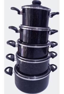 Jogo Panela Alumínio Colorido Preto Jogo Com 5 Peças