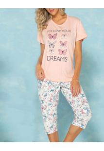 Pijama Capri Borboletas Pzama (50023) 100% Algodão