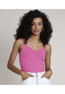 Regata Feminina Básica Canelada Alça Fina Decote V Pink