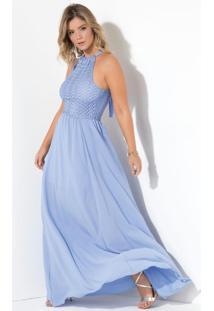 Vestido Quintess Longo Azul Com Gota Nas Costas