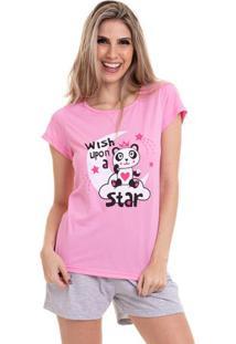 Pijama Short Doll Manga Curta Star Luna Cuore