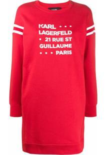 Karl Lagerfeld Vestido De Moletom Rue St Guillaume - Vermelho