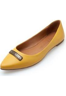Sapatilha Bico Fino Enfeite Personalizado Amarelo