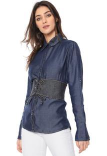 Camisa Jeans Lança Perfume Básica Azul