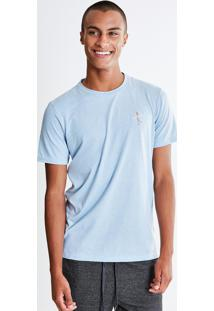 Camiseta Com Bordado Caveira Surf