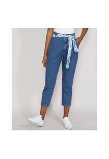 Calça Jeans Feminina Mom Cintura Super Alta Com Lenço Estampado Azul Médio