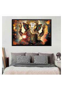 Quadro Love Decor Com Moldura Lord Ganesha Preto Grande