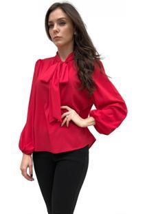 Camisa Hora De Diva Gola Laço Bufante Vermelha