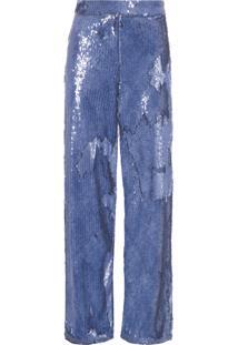 Calça Feminina Pantacourt Paetê - Azul