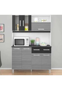 Cozinha Compacta Com 7 Portas E 2 Gavetas Ellen - Poquema - Grigio / Preto