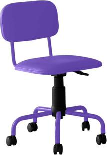 Cadeira De Escritório Secretária Giratória Color Pistão A Gás Corano Roxo