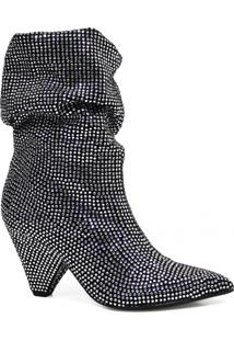 Bota Crystal Boot Werner Slouch Cristais Prata