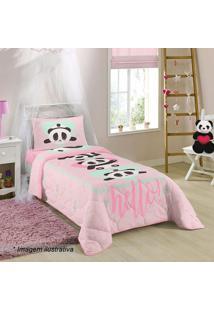 Edredom Pandas Solteiro- Rosa Claro & Verde ÁGua- 15Lepper