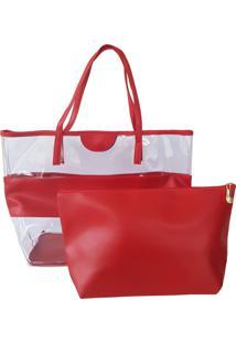 Bolsa Bag Dreams De Praia Com Necessaire Impermeável Vermelha
