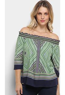 Blusa Colcci Ombro A Ombro Estampa Geométrica Feminina - Feminino-Azul+Verde