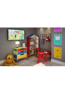 Conjunto Para Quarto Infantil Com 2 Estantes, Mesa, 2 Cadeiras E Cabideiro Vermelho/Branco/Amarelo/Azul - Caaza