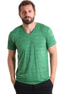 Camiseta Liquido Gola V Mescla - Verde P
