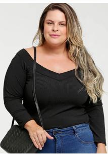 Blusa Feminina Canelada Ombro A Ombro Plus Size