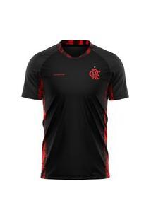 Camiseta Braziline Flamengo Blood Feminina - Preta/Vermelha