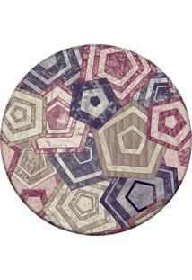 Tapete Love Decor Redondo Wevans Geométrico Multicolorido 94Cm