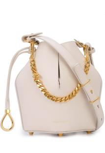 Alexander Mcqueen Bucket Chain Shoulder Bag - Branco