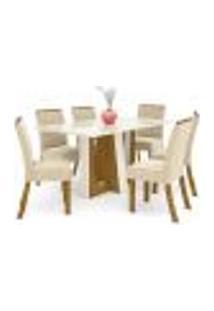 Mesa De Jantar Alfa 160Cm 6 Cadeiras Vita - Nature/Off White/Linho