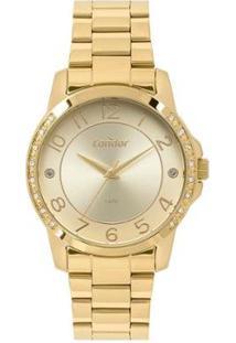 Relógio Condor Analógico Feminino - Feminino-Dourado