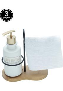 Kit 3Pçs Porta-Sabonete Liquido Com Toalha E Suporte Cerâmica/Algodão/Madeira My Bath Branco