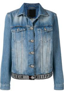 Philipp Plein Jaqueta Jeans Com Efeito Desbotado - Azul