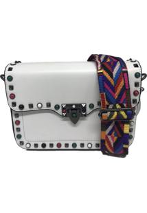 Bolsa Importada Transversal Alça Colorida Sys Fashion 8304 Branco