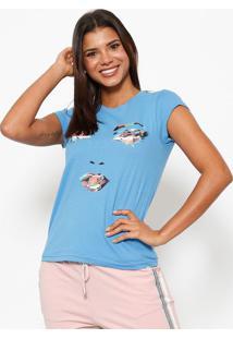 Camiseta Rosto- Azul & Branca- Club Polo Collectionclub Polo Collection