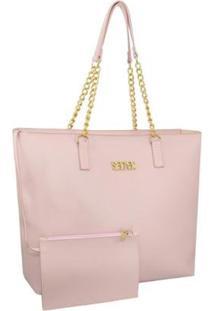 Kit Selten Bolsa Shopper Ombro Grande + Necessaire Dia A Dia Feminina - Feminino-Rosa