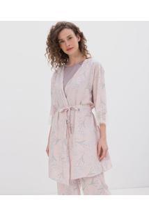 Robe Curto Floral Com Detalhe Em Renda
