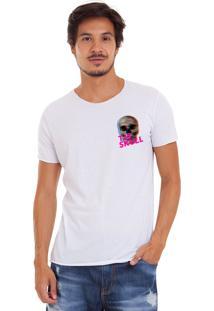 Camiseta Estonada Corte À Fio Estampada Joss Tis Skull Branco