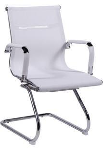 Cadeira Office Eames Tela- Branca & Prateada- 89X54,Or Design